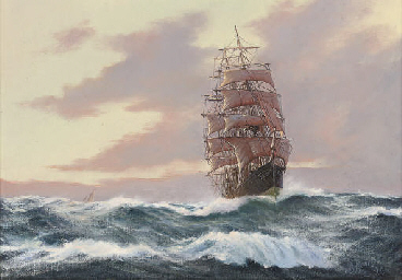 A clipper ship reefed down in
