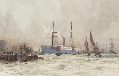 A passenger liner arriving at