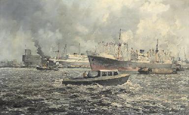 Cargo ships in Rotterdam harbo