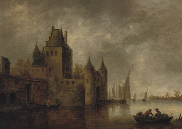 A river landscape with a city