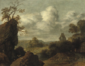 A rocky landscape with figures
