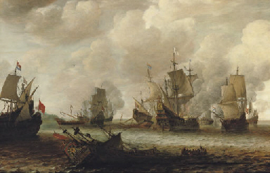 A naval battle between Dutch a