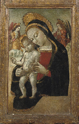 The Madonna and Child adored b