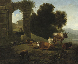 Cattle and sheep by a ruined c