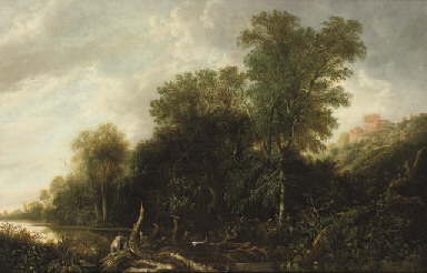 A wooded landscape with nymphs