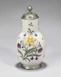 A GERMAN FAYENCE POLYCHROME PE