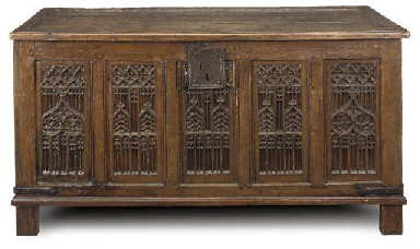 A FRENCH OAK PANELLED CHEST