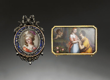 Two antique enamel brooches