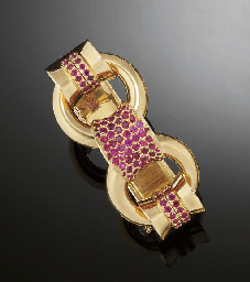 A gold and ruby bracelet, by V