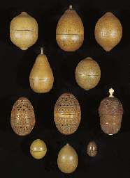 A GROUP OF WAX HOLDERS, 19TH C