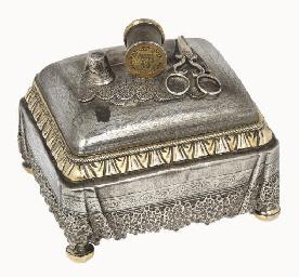 A Russian parcel-gilt casket