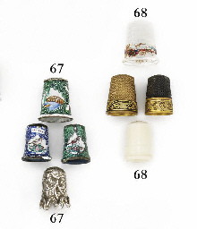 Three enamelled thimbles