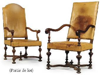 deux fauteuils d 39 epoque louis xiv et une chaise de style louis xiii christie 39 s. Black Bedroom Furniture Sets. Home Design Ideas
