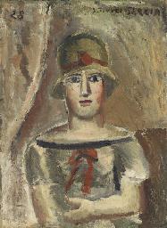 Figure avec chapeau et ruban r