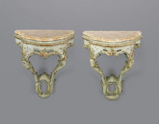 A PAIR OF VENETIAN POLYCHROME