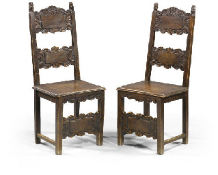 A PAIR OF ITALIAN STAINED WALN
