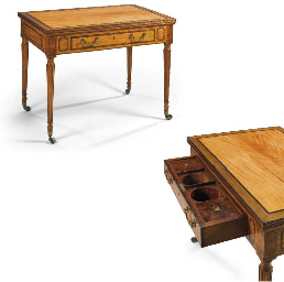 A GEORGE III SATINWOOD, PURPLE