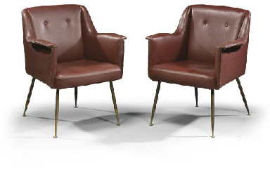 A PAIR OF ITALIAN LEATHERETTE
