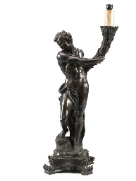 AN ITALIAN BRONZE FIGURAL LAMP