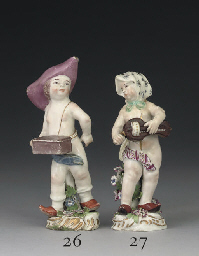 A CHELSEA FIGURE OF A HURDY-GU