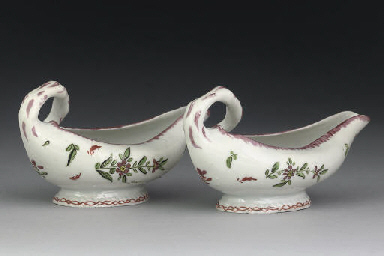 A PAIR OF BRISTOL PORCELAIN SA