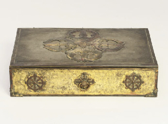 A gilt bronze sutra box