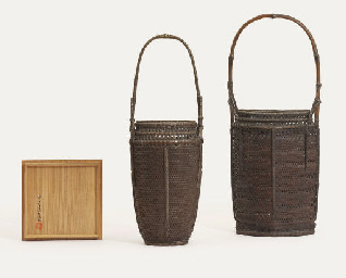 TWO BAMBOO BASKETS