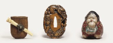 Two wood netsuke and a hina do
