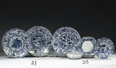 Five 'kraak porselein' saucer