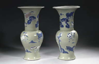 A pair of celadon-ground yenye
