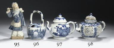 A blue and white openwork teap