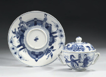 A blue and white two-handled b