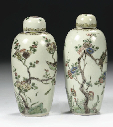 A pair of celadon ground famil