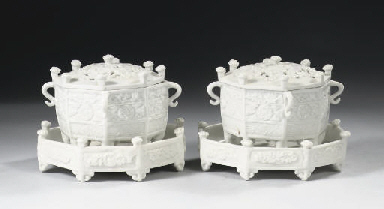A pair of blanc-de-chine 'Marc