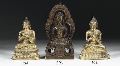A Sino Tibetan gilt-bronze fig