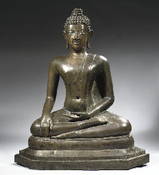 A Thai bronze figure of Buddha