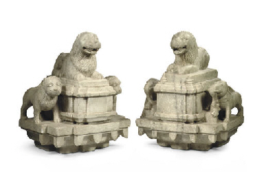 A pair of North Indian marble