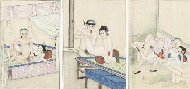 Three Chinese erotic paintings