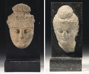 Two Gandhara grey schist heads