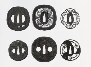 Seven Japanese iron tsuba