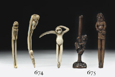 Six wood sashi-netsuke