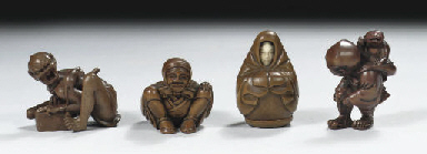 Four wood netsuke