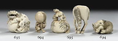 Three ivory and a bone netsuke