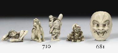 Four ivory and a bone netsuke
