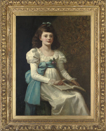 Portrait of a girl, seated thr