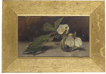 Magnolias in a glass vase, on