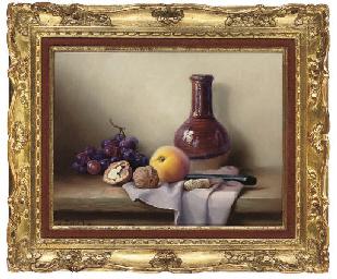 Grapes, a peach and walnuts, w