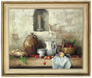 Bread, a wine flagon, cup, jug