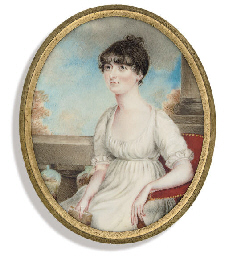 A lady, in white dress with sh