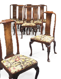 A SET OF EIGHT GEORGE I WALNUT